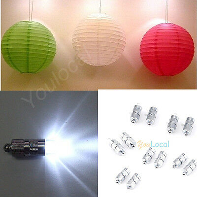 Mini Lot 12/24/36Pcs White LED Light Paper Lantern Balloon Floral For decoration - Led Paper