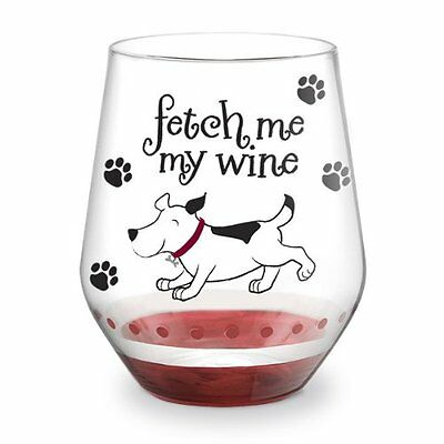 Epic Style Pet Dog Lovers Stemless Wine Glass - Fetch Me My Wine 93353D DEFECT