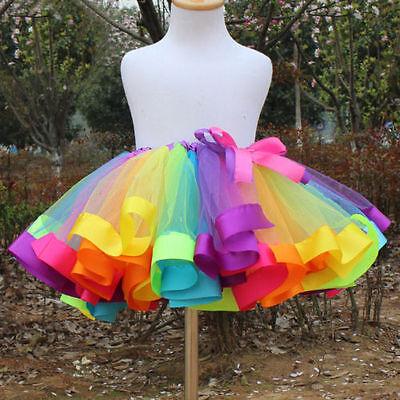 Girls Kids Baby Rainbow Tutu Skirt Party Costume Fancy Tutu Pettiskirt 0-8Y US
