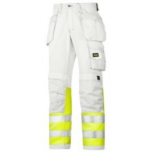 Snickers 3234 Painters Hi Vis Mens Work Trousers White Class 1 SnickersDirec Pre