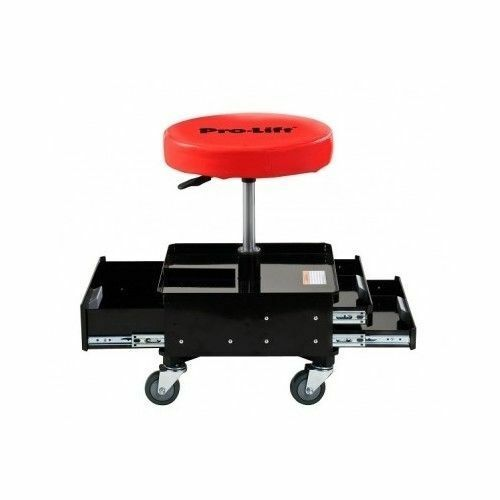 Garage Shop Chair Stool Two Tool Trays Padded Seat Adjustable Rolling Mechanics