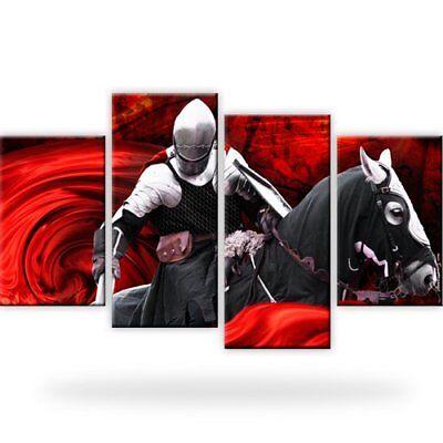 Ritter Kampf Pferd Bild Bilder Wandbild Kunstdruck 4 Teilig