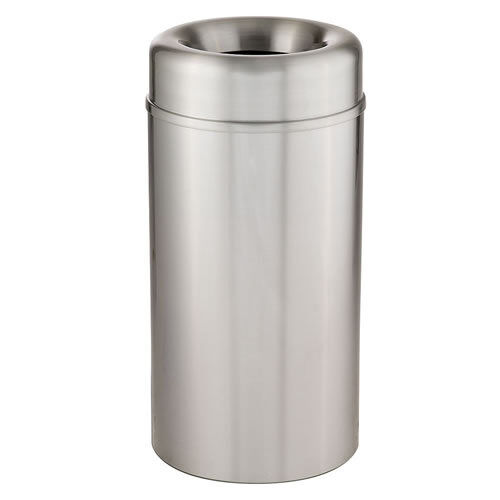 Rubbermaid AOT15SAPL Crowne 15 Gal Waste Receptacle with Plastic Liner, Aluminum