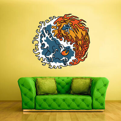 Full Color Wall Decal Sticker Fire and Water Symbol Chineese - Chineese Symbols