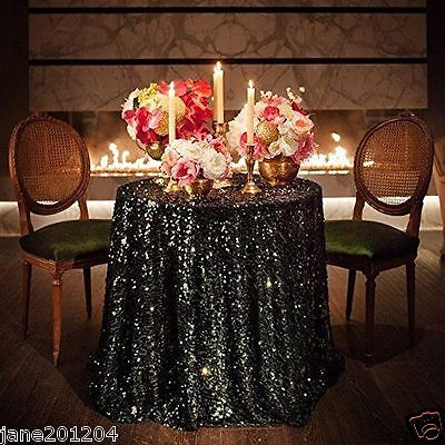 Sale Black 48'' Round Sequin Table cloth Cover For - Party Tables For Sale