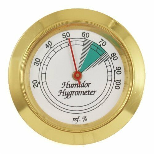 Gold Frame 36 mm  Analog Hygrometer for Cigar Humidor Replacement