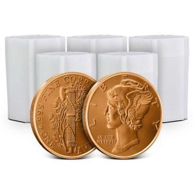 Lot of 100 - 1 oz Copper Rounds Mercury Dime