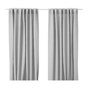 NEW Curtains Drapes 100 % LINEN Panels AINA Gray Grey Natural Beige White Pink