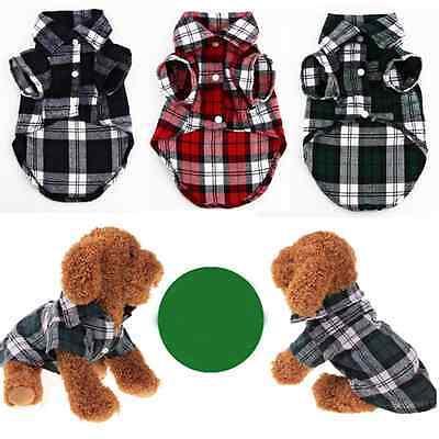New Small Pet Dog Puppy Plaid T Shirt Lapel Coat Cat Jacket Clothes Costume XS-L