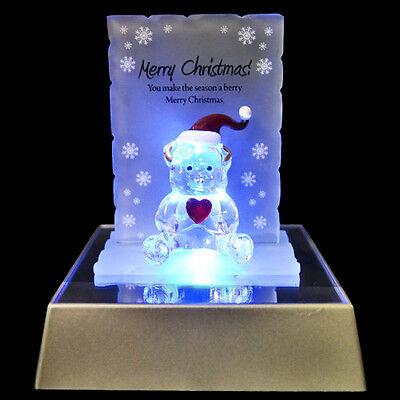MERRY CHRISTMAS BEAR FIGURINE GLASS CRYSTAL ORNAMENTS GIFT SET XMAS & LED LIGHT