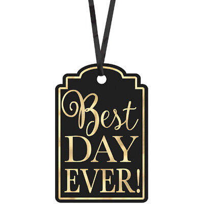 WEDDING AND BRIDAL Best Day Ever BLACK TAGS (25) ~ Party Supplies Gift