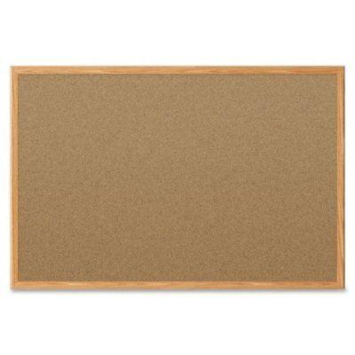 Economy Cork Bulletin Boards - Quartet Economy 2' x 1.5' Cork Bulletin Board with Oak Finish Frame