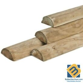 Half Round Fence Posts Paddock Fence Rails Treated Timber Rail Post 90mm 3.6m