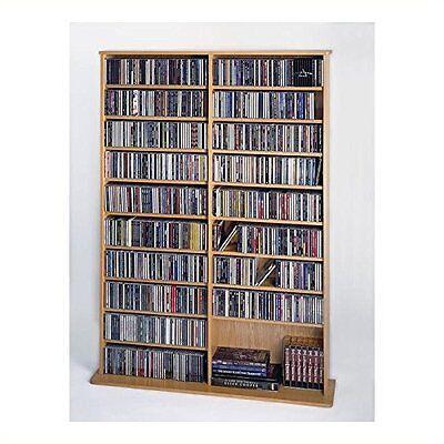 Leslie Dame High Capacity Oak Veneer Multimedia Storage Rack, Oak NEW