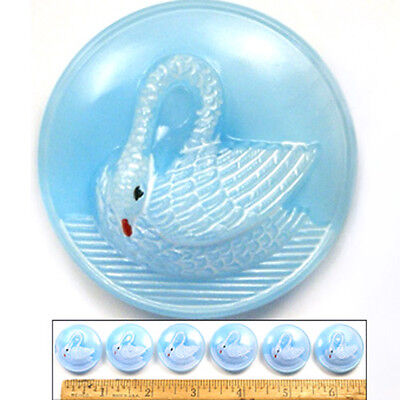 SALE! 27mm Vintage 1960's Czech Glass Moonglow BLUE Swimming SWAN Buttons 6pc