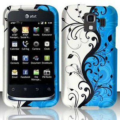 Rubberized Blue Snap - For Huawei AT&T Fusion 2 Rubberized HARD Case Snap On Phone Cover Blue Vines