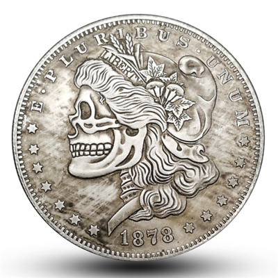 Retro Zombie Skull Skeleton Face Morgan Nickel One Dollar Omega HOBO Carved COIN