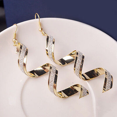 - Women Sophisticated Twist Spiral Eardrops Lady Girl Long Dangle Hook Earrings