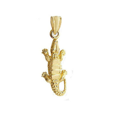 - New 14k Gold Alligator Crocodile Pendant Charm