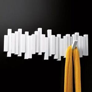 Umbra sticks multi wall hook coat rack white for White wall hook rack