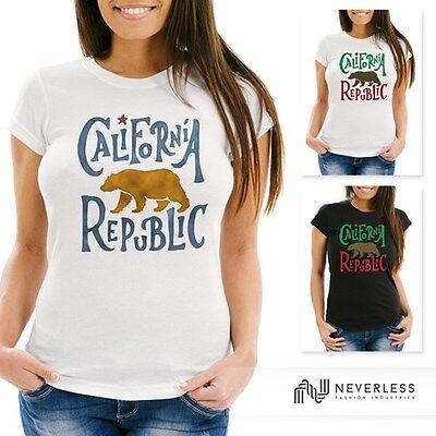 Damen T-Shirt California Republic Bär Grizzlybär Kalifornien Neverless®