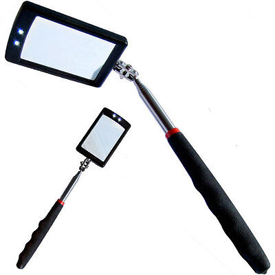 Telescopic Light Inspection Mirror 42mm x 65mm With 2 Bright LED Extends 29-87cm