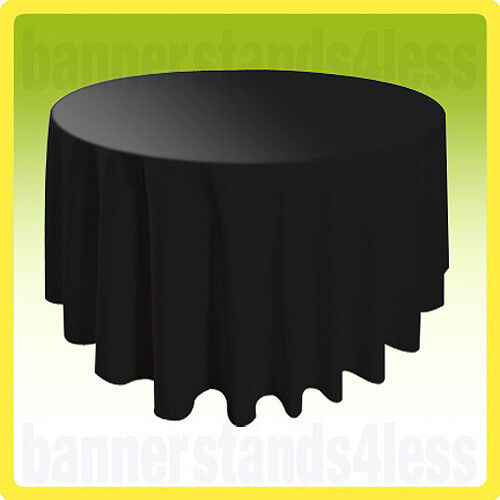 """70"""" Round Tablecloth Table Cover Wedding Banquet Event - BLACK"""