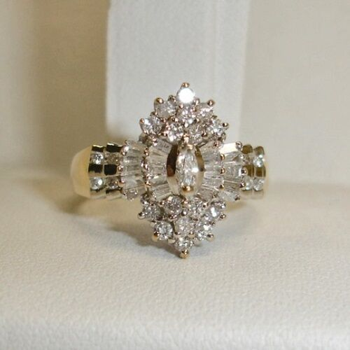 Ring - 2 Carat Diamond 14K Yellow Gold Marquise Cluster Engagement Wedding Ring