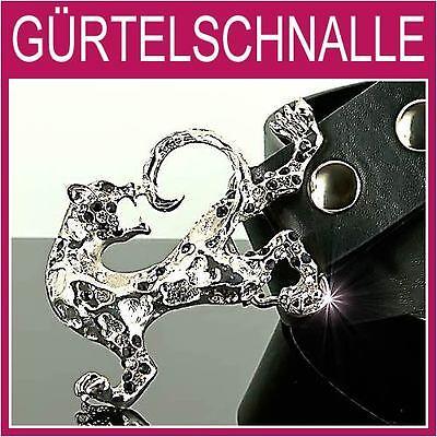 Herren Silber Gürtelschnalle (Leopard,Panther Gürtelschnalle,silber Strass Herren,Damen,Gürtel,BUCKLE,1A18e)