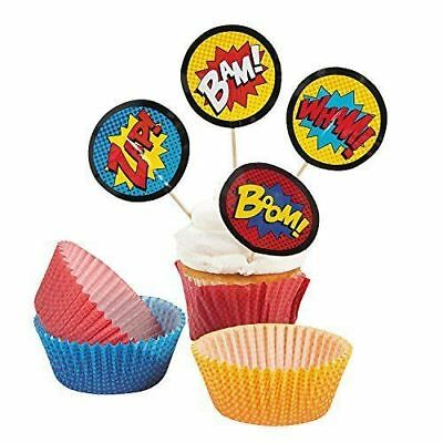 1 Set - Superhero Cupcake Picks & Baking Liner - 50 Cups & 50 Picks Per Set - Superhero Cupcake Liners