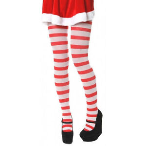 Red and White Stripe Christmas Tights Elf Where's Wally One Size Fancy Dress