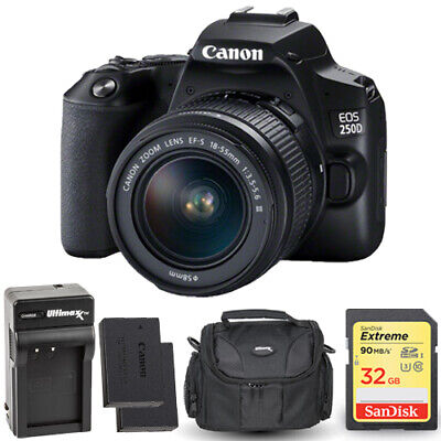 Canon EOS 250D/Rebel SL3 with 18-55mm III Lens + Extra Battery 32GB Case Bundle