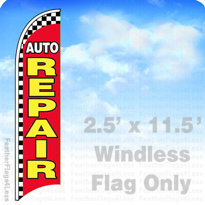 Auto Repair Windless Swooper Flag Feather 2.5x11.5 Sign - Checkered Rb