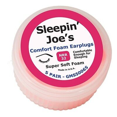 Sleepin Joes Soft Foam Ear Plugs Nrr 32db 5 Pair Noise Canceling Protection