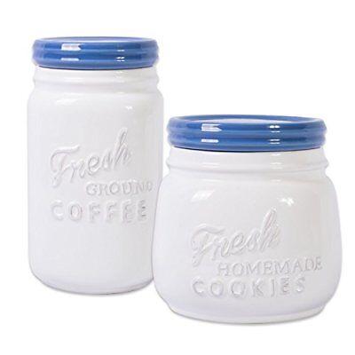 2 Piece Jar - DII 2-Piece Vintage, Retro, Farmhouse Chic, Mason Jar Inspired Ceramic Kitchen C