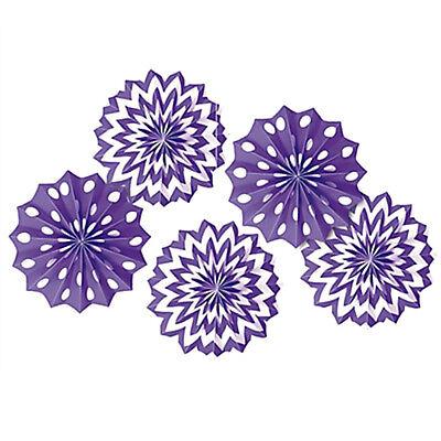 PURPLE POLKA DOT CHEVRON PAPER FAN DECORATIONS (5) ~ Birthday Party - Purple Polka Dot Party Supplies