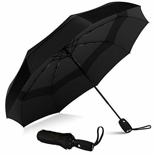 Repel Umbrella Windproof Double Vented Travel Umbrella with Teflon (Black)