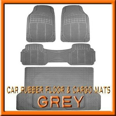 Ford Bronco Cargo Liner - Fits 3PC FORD Bronco  Premium Grey Rubber Floor Mats & 1PC Cargo Trunk Liner mat
