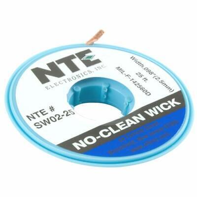 """NTE Electronics SW02-25 No-Clean Solder Wick 4 Blue.098"""" Width 25"""