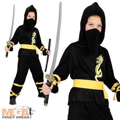 Dragon Ninja Boys Halloween Fancy Dress Kids Japanese Fighter Childrens Costume ()