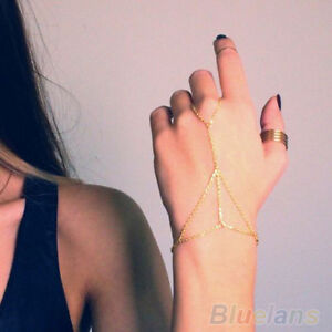 Sweet Gold Plated Slave Chain Interweave Finger Ring Harness Hand Chain Bracelet