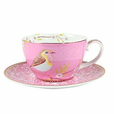 PIP Studio Cappuccino Tasse mit Untertasse Early Bird pink Porzellan NEU  Cappuccino-tasse
