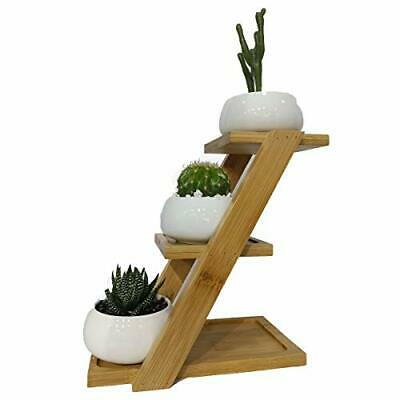 Ceramic White Plant Potsplant Pot With 3 Tier Bamboo Saucers Stand Holder
