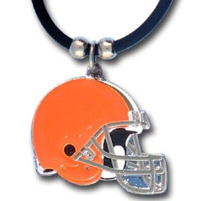 Cleveland Browns Necklace Black Rubber Cord Large Metal Pendant NFL Football
