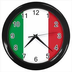 Italy Wall Clock (Black) - Italian Flag