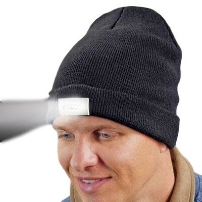 5-LED Beanie Lighted Cap Winter Warm Black Flashlight Style Camping Hat