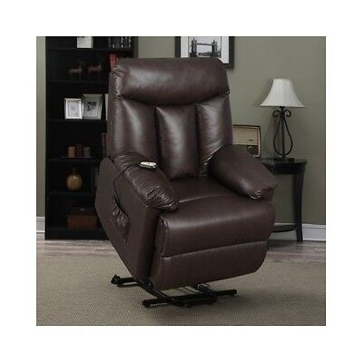 Power Lift Recliner Leather Reclining Chair Living Room Furniture Electric Brown