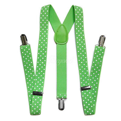Light Green w/ White Polka Dots Suspender for Adults Men Women Teens (USA) (Light Green Hosenträger)