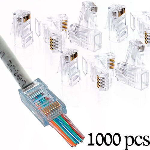 1000 Pcs Cat5e Rj45 Network Modular Plug 8p8c Cable Conne...