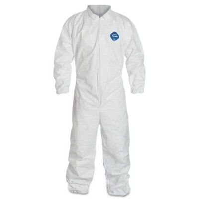 Dupont Ty125s White Tyvek Disposable Coverall Bunny Suit Welastic Size L Or Xl